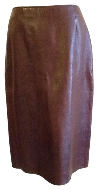 Vakko Leather Made In China Dryclean Only Lining Skirt rusty brown Image 0