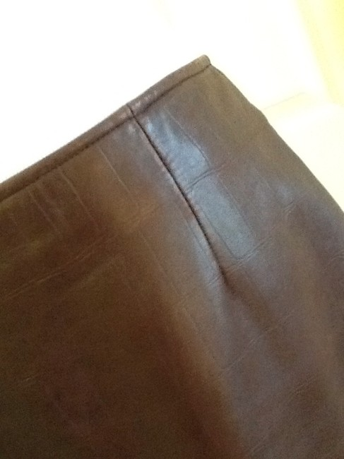 Vakko Leather Made In China Dryclean Only Lining Skirt rusty brown Image 1