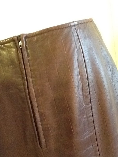 Vakko Leather Made In China Dryclean Only Lining Skirt rusty brown Image 2