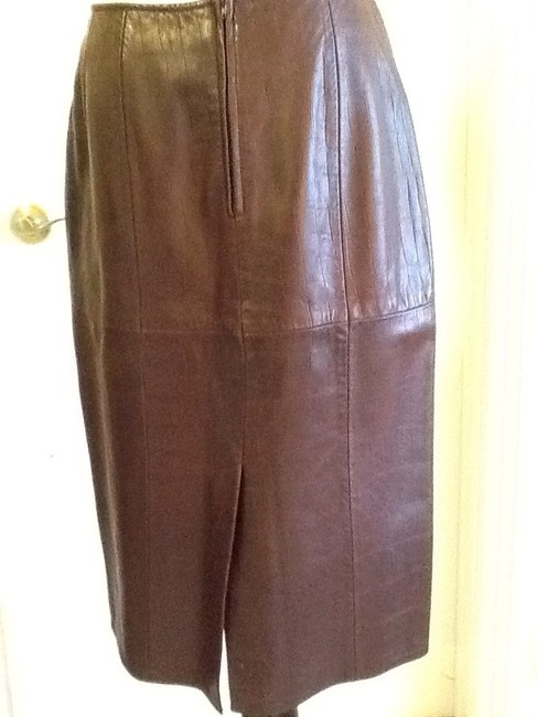 Vakko Leather Made In China Dryclean Only Lining Skirt rusty brown Image 3