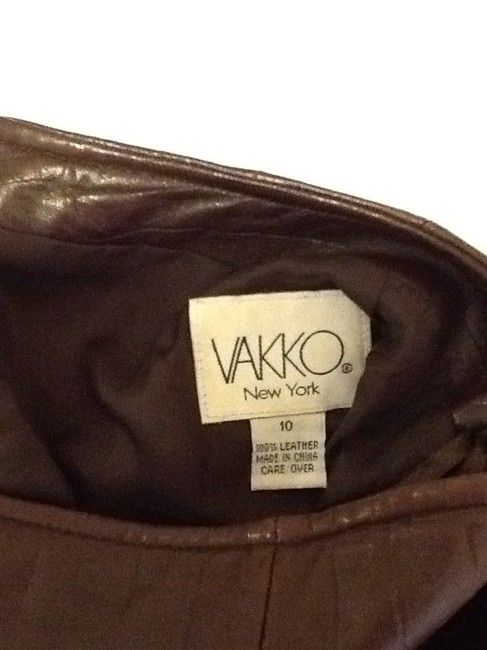 Vakko Leather Made In China Dryclean Only Lining Skirt rusty brown Image 4
