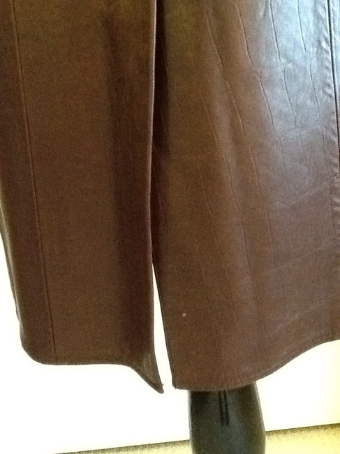 Vakko Leather Made In China Dryclean Only Lining Skirt rusty brown Image 5