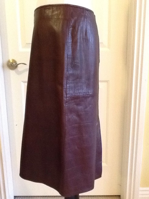 Vakko Leather Made In China Dryclean Only Lining Skirt rusty brown Image 6
