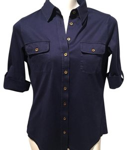 Lilly Pulitzer Button Down Shirt Navy Blue