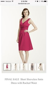 David's Bridal Red Short Sleeveless Satin Dress With Ruched Waist Dress