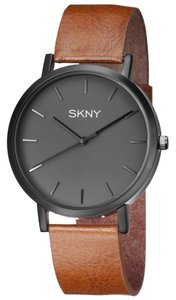 SKNY SKNY Men's SK1001 Gray Dial Brown Genuine Leather Watch