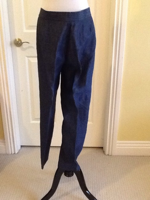 Lafayette 148 New York Made In China Linen Dry-clean Machine Washable Relaxed Pants blue Image 1