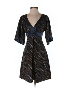Laundry by Shelli Segal Silk Striped V-neck Dress