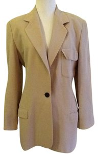 Ellen Tracy Wool Made In Korea Dryclean Only tan beige Blazer