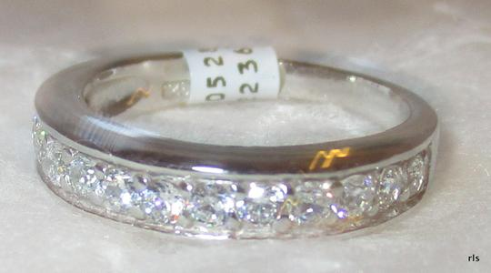 rlss STERLING SILVER Simulated Diamond Wedding Band Ring Size 9 Image 1