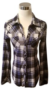 Fox Button Down Shirt Blue/White Plaid