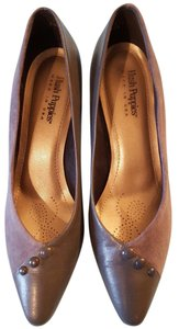 Hush Puppies Made In America Leather & Man-made Button Accents Gray Pumps