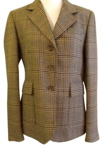 costume dublin Pure Wool Dryclean Only Made In Ireland green plaid Blazer