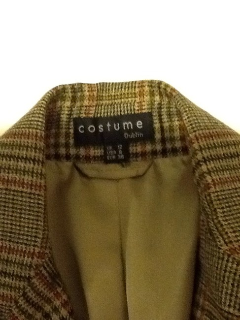 costume dublin Pure Wool Dryclean Only Made In Ireland green plaid Blazer Image 5
