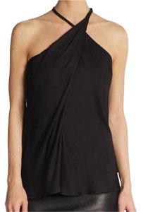 Helmut Lang Asymmetric Draped Leather Sleeveless Halter Top Black