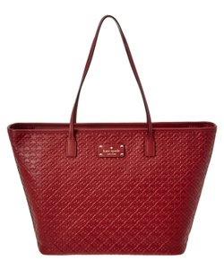 Kate Spade Leather Margareta Penn Tote in Red TRAIN CARED