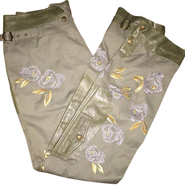 Item - Green and Gold Leather Pants Size OS (one size)