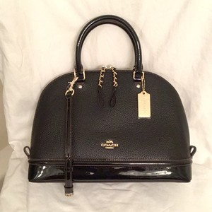 Coach New/nwt Patent Leather Leather Cross Body Satchel in Black Brown Gold