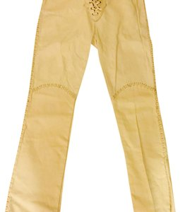 Handmade Leather Buffalo Chips Boot Cut Pants Bone white