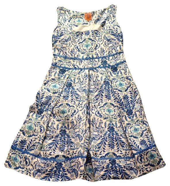 Tory Burch Floral Empire Pleats Blue Silk Dress