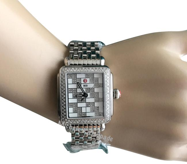 "Michele Silver/ White "" Trunk Show "" Deco Diamond Square Pattern Mw06t01a1999 Watch Michele Silver/ White "" Trunk Show "" Deco Diamond Square Pattern Mw06t01a1999 Watch Image 1"