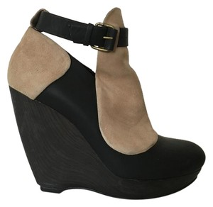 Balenciaga Black and Beige Wedges