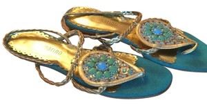 Ann Marino Gold upper, aqua sole Sandals