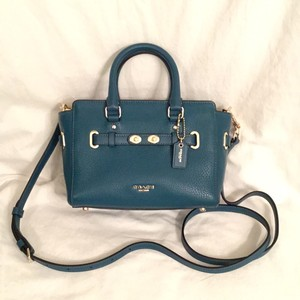 Coach New/nwt Leather Shoulder Satchel in Blue (Atlantic)