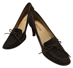 Michael Kors Leather Tassels Slip On Brown Pumps