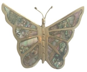 Mother Of Pearl Sterling Silver Butterfly Brooch/pin