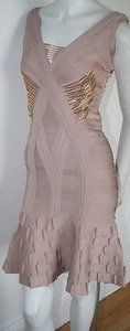 Hervé Leger Herve Bare Beige Gold Dress