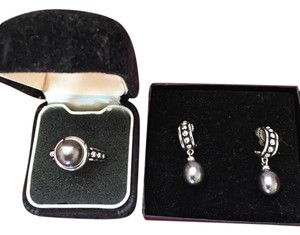 Honora Honora Black Pearl Ring (Size 8) and Earrings ( Silver )