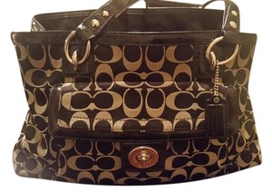 Coach Satchel in Grey and Black
