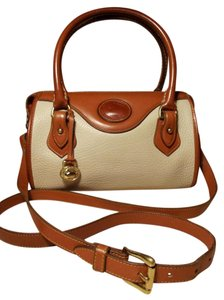 Dooney & Bourke Vintage B710 Mini Vintage Pebbled Leather Satchel in Bone/British Tan