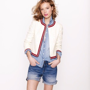 J.Crew Tennis Sequin Glam Preppy Ivory Jacket