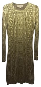 Michael Kors Collection Goldpainted Sweaterdresd Dress