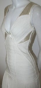 Hervé Leger Long Aloissa Alabaster Gown Bandage Beaded Dress