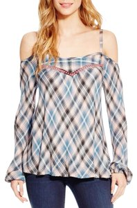 Jessica Simpson Embroidery Peasant Top Pink Plaid