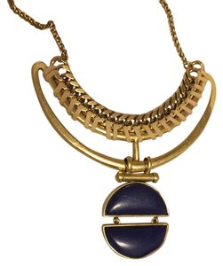 Lucky Brand Blue Lapis Stone Suede Pendant Gold-Tone Frontal JLRY3369