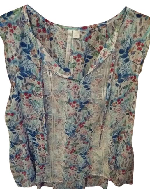 LC Lauren Conrad Top Floral-White/torqouise/blue Image 0