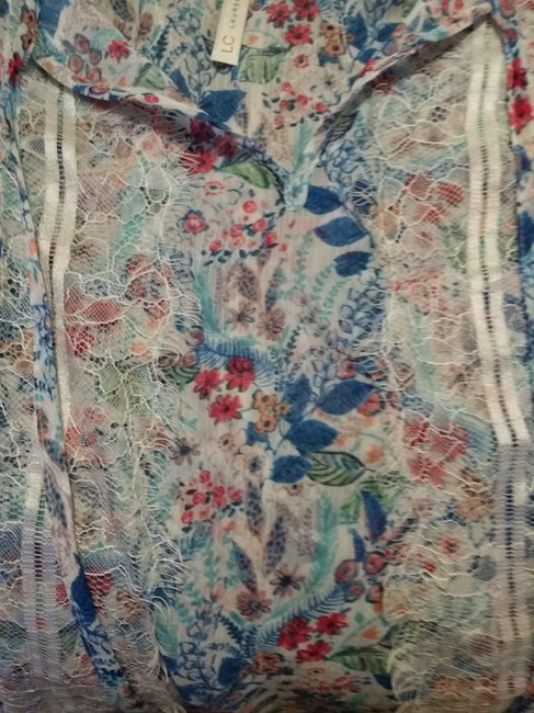 LC Lauren Conrad Top Floral-White/torqouise/blue Image 3