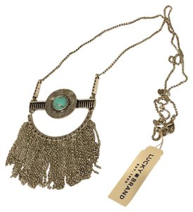 Lucky Brand NWT Fringe Silver Turquoise Pendant JLRY 4174