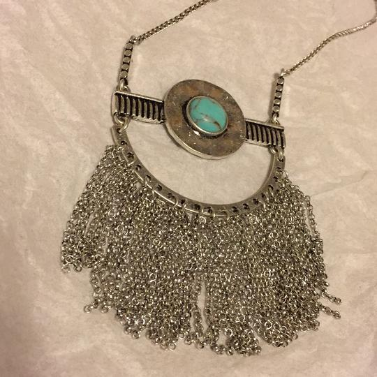 Lucky Brand NWT Fringe Silver Turquoise Pendant JLRY 4174 Image 1