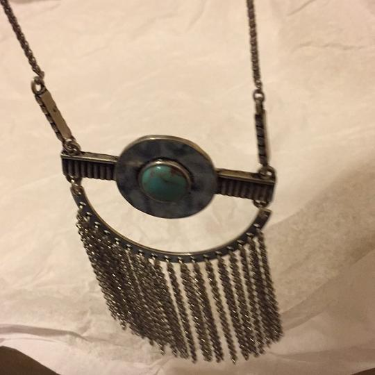 Lucky Brand NWT Fringe Silver Turquoise Pendant JLRY 4174 Image 4