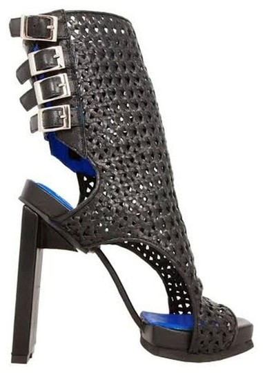 Jeffrey Campbell Woven Leather Buckle Bootie Peep Toe Black Sandals Image 1