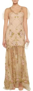 Marchesa Notte Floral Embroidered Gown Dress