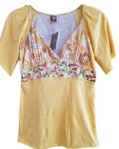 Anthropologie Floral Spring T Shirt yellow