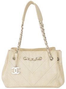 Chanel Canvas Lambskin Silver Shoulder Bag