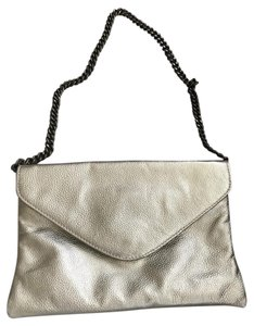 J.Crew Leather Silver Evening Work Silvery Gold Clutch
