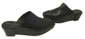 Robert Clergerie Patent Wedge Black embossed leather slip on French Mules